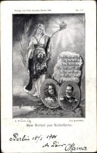 Ak König Friedrich I, Kaiser Wilhelm II. von Preußen