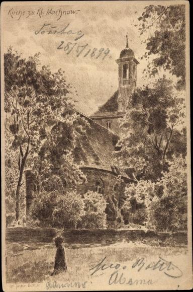 Künstler Ak Jander, Carl, Kleinmachnow in Brandenburg, Kirche 0