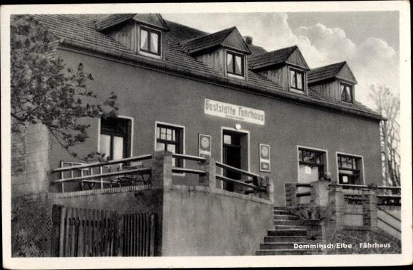 Ak Dommitzsch Elbe Nordsachsen Sachsen, Fährhaus 0