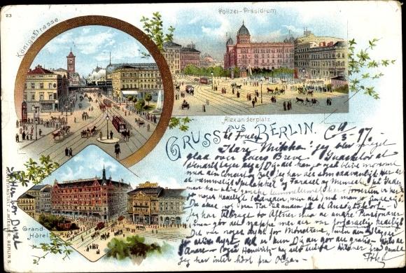 Litho Passepartout Ak Berlin Mitte, Alexanderplatz, Polizei Präsidium, Königsstraße, Grand Hotel 0