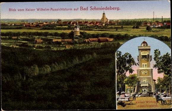 Ak Bad Schmiedeberg in der Dübener Heide, Panorama, Kaiser Wilhelm Aussichtsturm 0