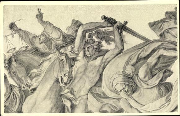 Künstler Ak Cornelius, Peter, Krieg, Tod und Feuerung, Kunstwartpostkarte, Reiter mit Schwert 0
