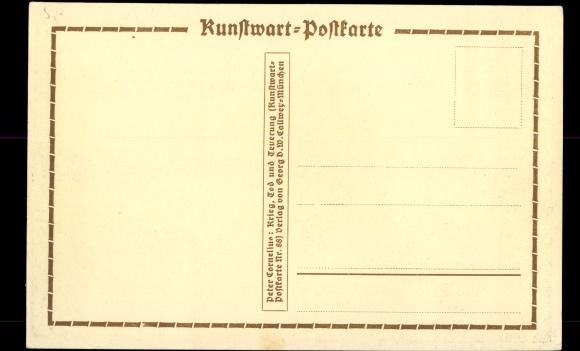 Künstler Ak Cornelius, Peter, Krieg, Tod und Feuerung, Kunstwartpostkarte, Reiter mit Schwert 1