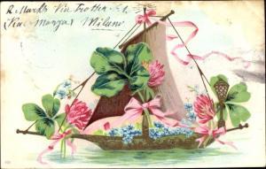 Präge Litho Segelboot mit Kleeblättern, Vergissmeinnicht