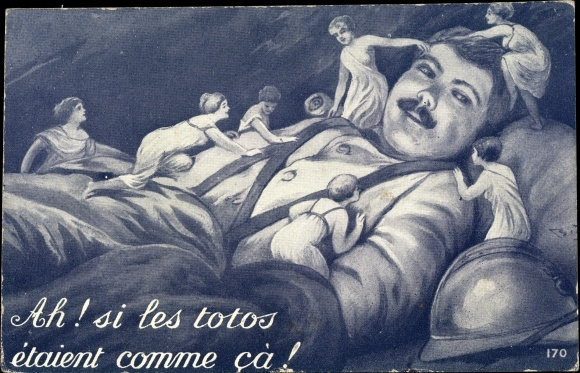 Künstler Ak Ah, si les totos etaient comme ca, Frauen besteigen einen Soldaten 0