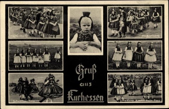 Ak Gruß aus Kurhessen, Schwälmer Kinder beim Tanz, Hochzeitszug, Volkstrachten 0