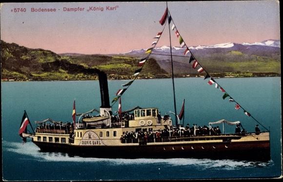 Ak Salondampfer König Karl auf dem Bodensee 0