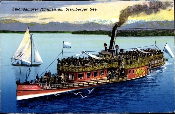 Ak Salondampfer München auf dem Starnberger See 0