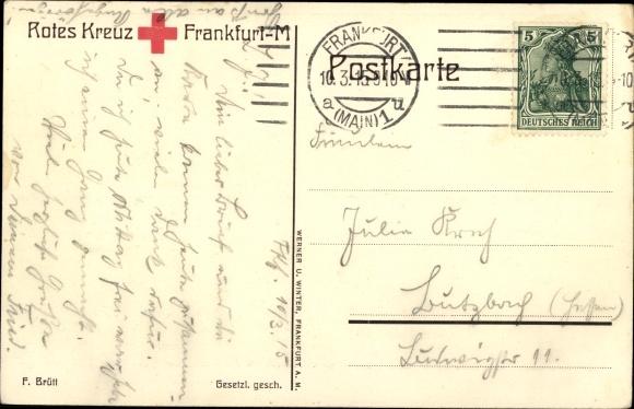 Künstler Ak Brütt, F., Reichsadler über einem Kriegsschiff, Rotes Kreuz Frankfurt Main 1