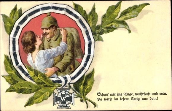 Künstler Ak Schau mir ins Auge, Eisernes Kreuz, Soldatenliebe, Photochromie 0