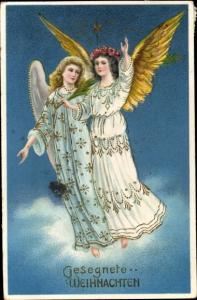 Litho Glückwunsch Weihnachten, Zwei Engel, Palmzweig