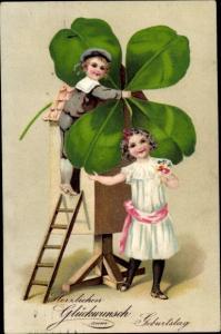 Präge Litho Glückwunsch Geburtstag, Junge, Mädchen, Kleeblatt, Windmühle