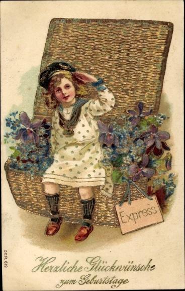 Präge Litho Glückwunsch Geburtstag, Mädchen, Weidenkorb mit Blumen 0