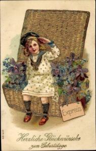 Präge Litho Glückwunsch Geburtstag, Mädchen, Weidenkorb mit Blumen