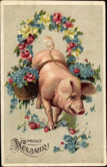 Ak Glückwunsch Neujahr, Schwein, Blumen, Vergissmeinnicht 0