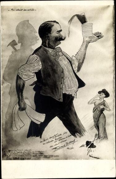 Künstler Ak Kellner mit Glas, Schatten eines Soldaten, Frau mit entblößter Brust 0
