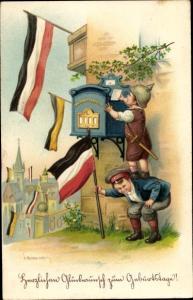 Künstler Litho Kaskeline, F., Glückwunsch Geburtstag, Kinder in Uniformen, Briefkasten, Fahnen