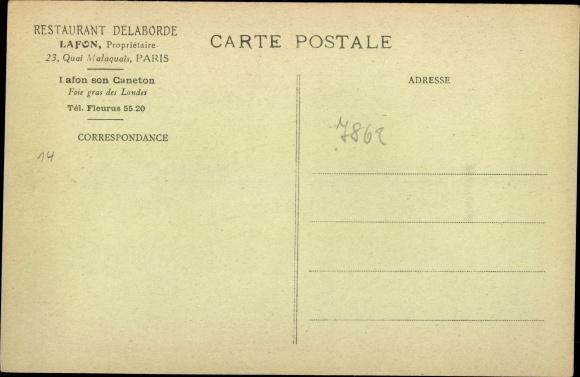 Künstler Ak Paris VI, Restaurant Delaborde, 23 Quai Malaquais 1