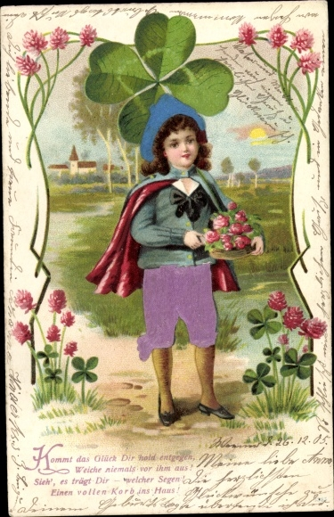 Stoff Litho Mädchen mit Kleeblättern, Kommt das Glück Dir hold entgegen 0