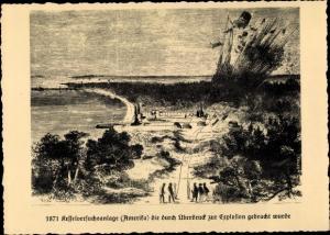 Künstler Ak 1871 Kesselversuchsanlage zur Explosion gebracht, Dampfkesselfabrik Uebigau