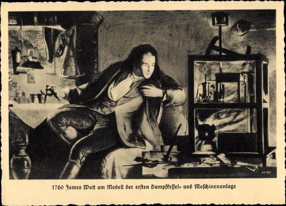 Künstler Ak Dampfkesselfabrik Uebigau, James Watt, Modell der ersten Dampfkesselanlage 0