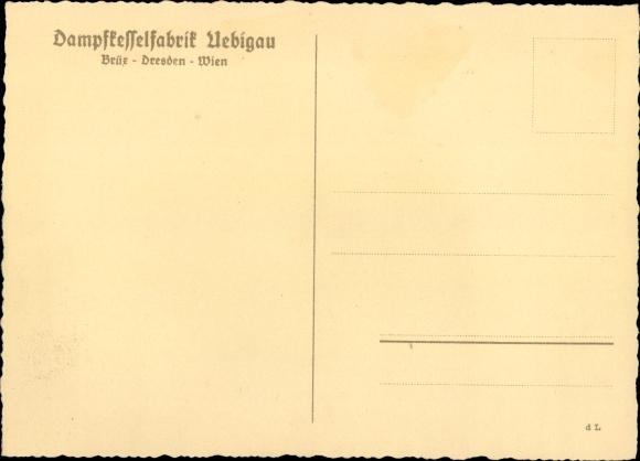 Künstler Ak Dampfkesselfabrik Uebigau, James Watt, Modell der ersten Dampfkesselanlage 1
