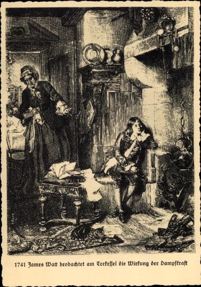 Künstler Ak Dampfkesselfabrik Uebigau, James Watt beobachtet Teekessel 0