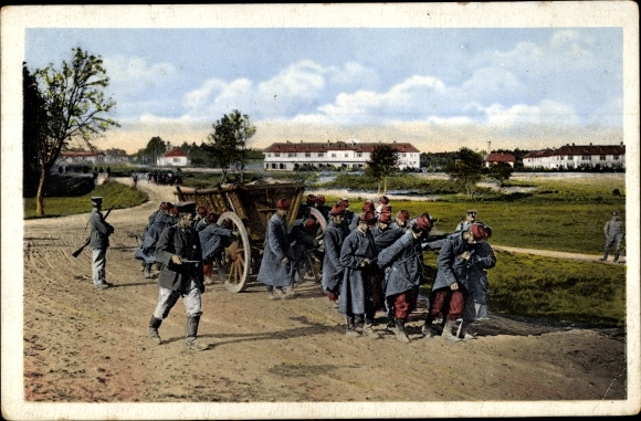 Ak Kriegsgefangene Franzosen, deutsche Soldaten 0
