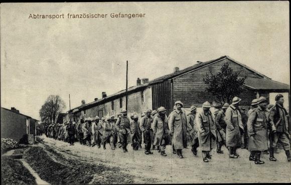 Ak Abtransport französischer Kriegsgefangener 0