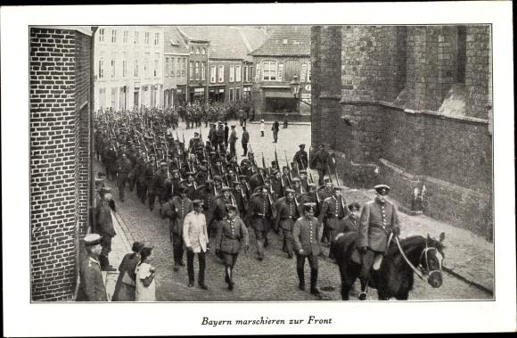 Ak Bayern marschieren zur Front, Soldaten 0