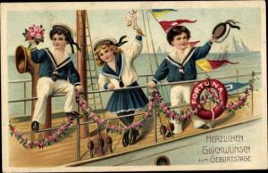 Präge Litho Glückwunsch Geburtstag, Kinder in Matrosenanzügen, Schiff, Fortuna, Blumen