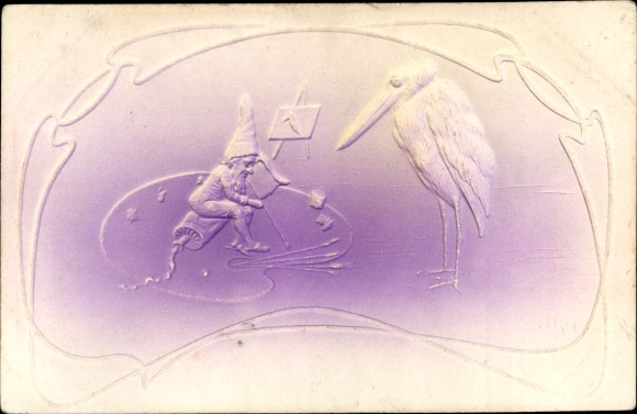 Präge Litho Zwerg sitzt auf Farbtube, Palette, Marabu 0