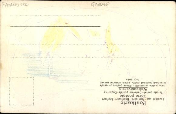 Präge Litho Zwerg sitzt auf Farbtube, Palette, Marabu 1