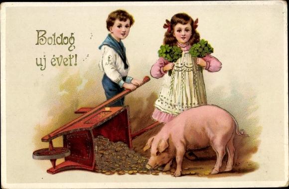 Präge Litho Glückwunsch Neujahr, Kinder, Schwein, Münzen, Kleeblätter 0