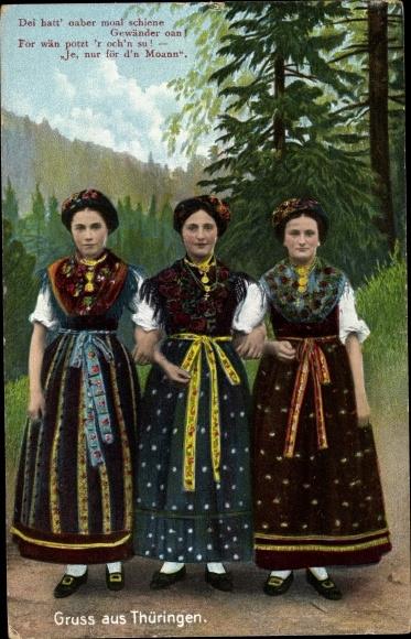 Ak Gruß aus Thüringen, Drei Mädchen in Landestrachten, Dei hatt' oaber moal.. 0