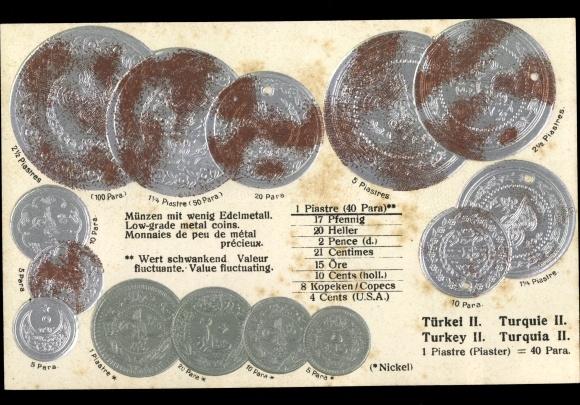 Präge Litho Türkische Münzen, Piaster 0