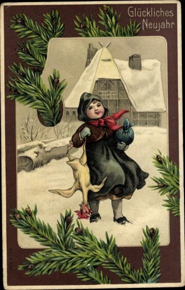 Präge Litho Glückwunsch Neujahr, Kind mit gerupftem Hahn 0