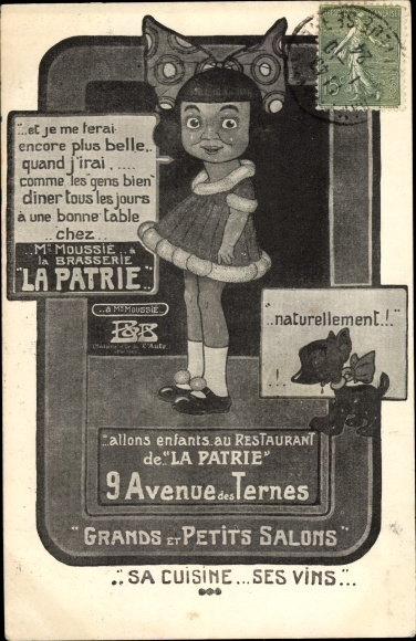 Künstler Ak Restaurant La Patrie, 9 Avenue des Ternes, Mädchen, Hund 0