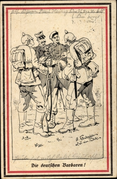 Künstler Ak Die deutschen Barbaren, deutsche Soldaten, Franzose 0