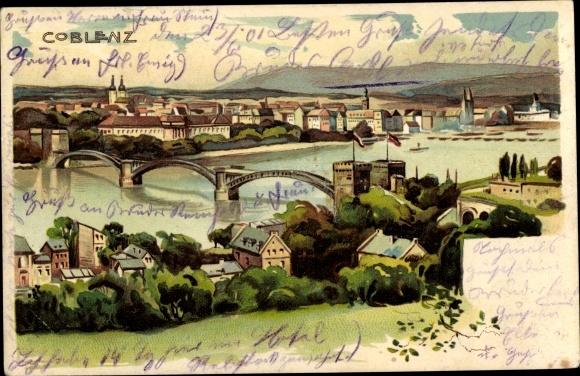 Ak Koblenz am Rhein, Panorama 0
