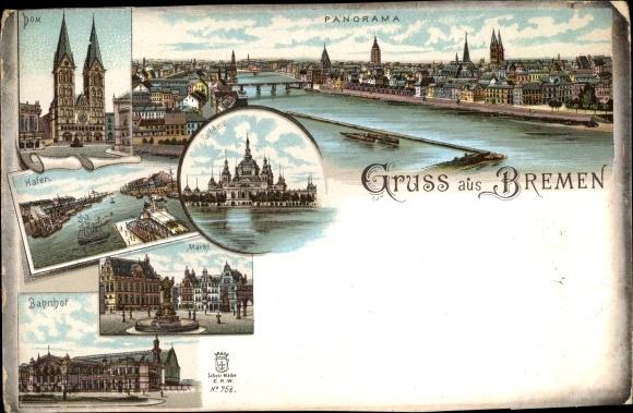 Litho Hansestadt Bremen, Dom, Hafen, Markt, Bahnhof, Parkhaus, Panorama 0