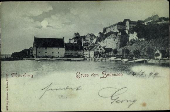 Mondschein Ak Meersburg am Bodensee, Panorama 0