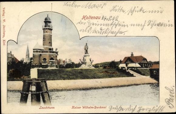 Ak Holtenau Kiel in Schleswig Holstein, Leuchtturm, Kaiser Wilhelm Denkmal 0