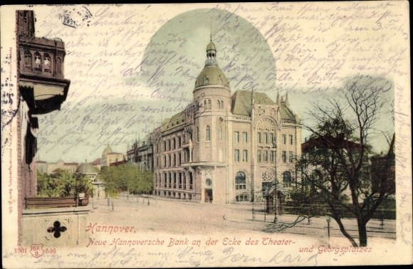 Ak Hannover in Niedersachsen, Neue Hannoversche Bank, Ecke Theater- und Georgsplatz 0