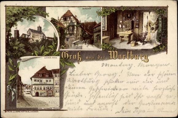 Litho Lutherstadt Eisenach in Thüringen, Wartburg, Burghof, Lutherstube, Luther Haus 0