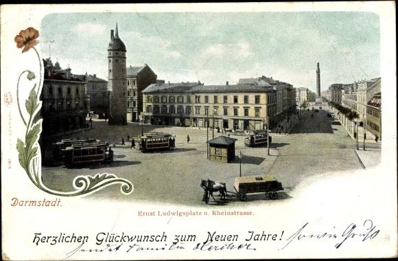 Ak Darmstadt in Hessen, Ernst Ludwigsplatz, Rheinstraße 0