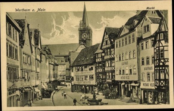 Ak Wertheim im Main Tauber Kreis, Markt, Kaufhaus Menko Held, Philipp Amthauer 0
