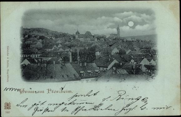 Mondschein Ak Pforzheim im Schwarzwald, Panorama 0