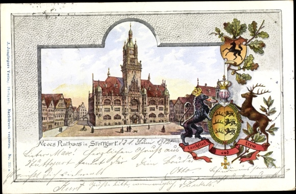 Wappen Passepartout Ak Stuttgart am Neckar, Neues Rathaus 0