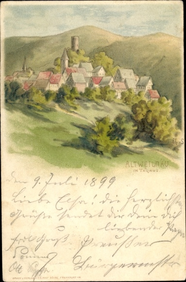 Künstler Ak S., Frhr. v., Altweilnau Weilrod im Weiltal Taunus, Panorama 0